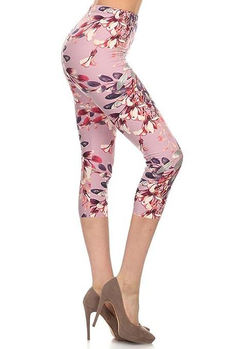 Leggings Depot Women's Popular Best Capri Cropped REGULAR and PLUS Butterknit Soft Printed Brush Leggings Batch13 (Plus (Size 12-24), Love Cells)