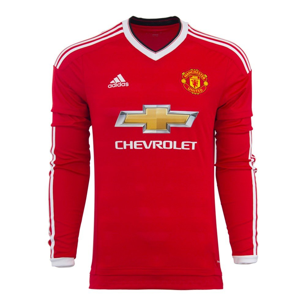 cheaper 42142 a0677 adidas Manchester United FC Home Long Sleeve Jersey-REARED
