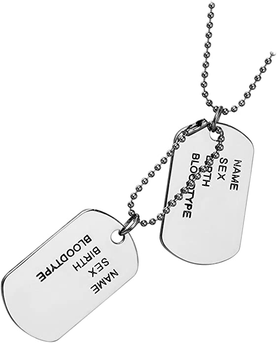 Dog Tag Military Army Style Tags 41 x 25mm With Silencers Ball  Chain Pendant