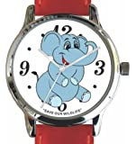 """Save Our Wildlife"" Large Polished Chrome Watch with Red Leather Strap has ""Elephant Smiling"" image and Donation to the African Wildlife Foundation"