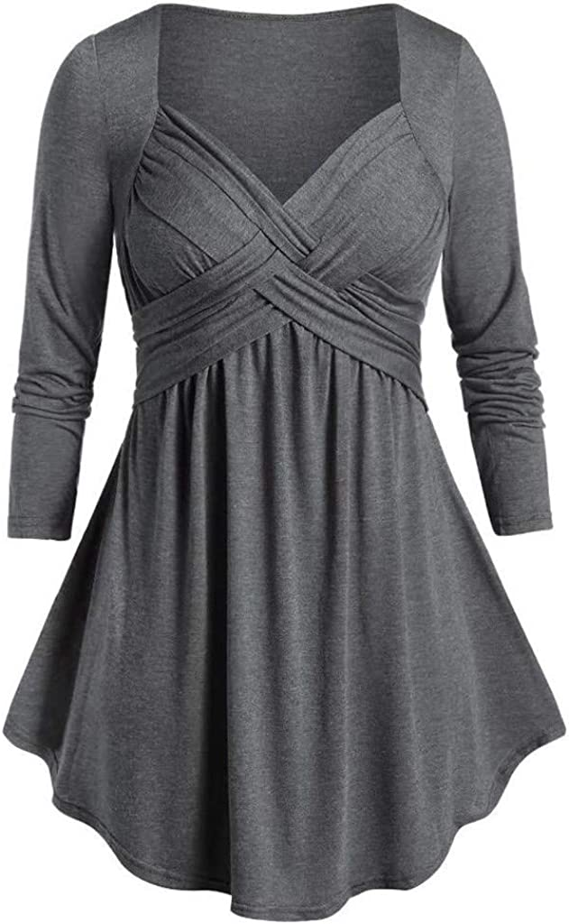 aihihe Women Plus Size Long Sleeve Tops Criss Cross V Neck T Shirt Casual Loose Tunic Tops Comfy Blouse Pullover