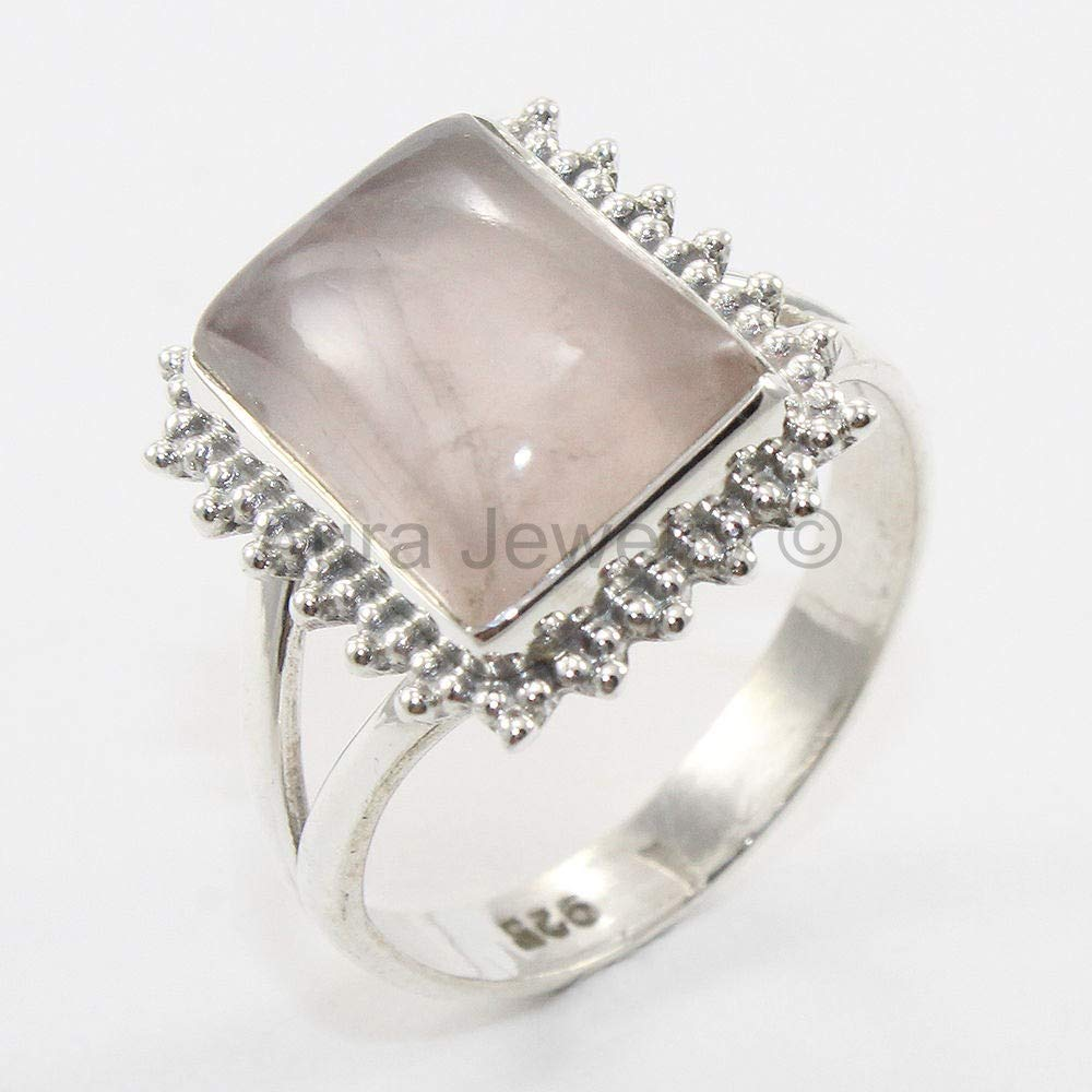 Sterling Silver Rose Quartz Ring Halo Mothers Day Gift Bridesmaid Gift Handmade Jewelry Solid 925 Sterling Silver Rings for Women /& Girls