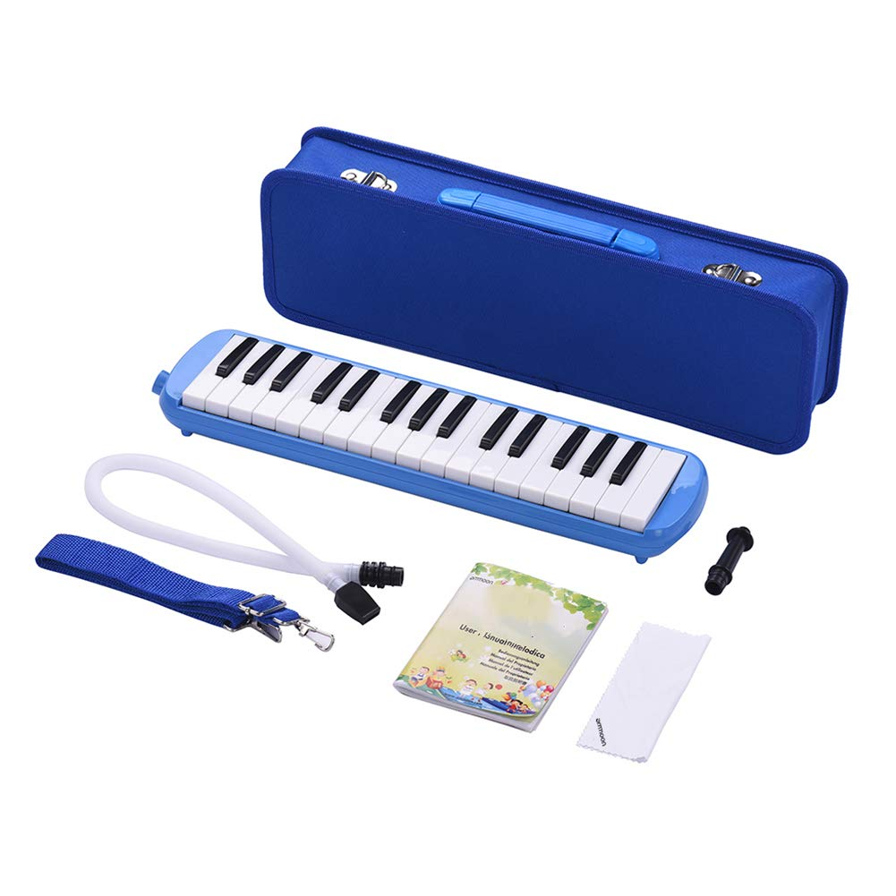 HBIAO 32-Key Melodica, Melody Piano Style Keyboard Tone Piano with Mouthpiece Cleaning Cloth Carrying Case for Music Gifts