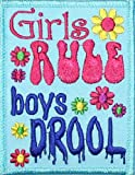 Girls Rule Boys Drool Blue Iron On Applique Patch