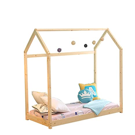 premium selection 446d6 35d46 WALCUT Children House Bed Frame Toddler Wood Floor Tent Bedroom Furniture