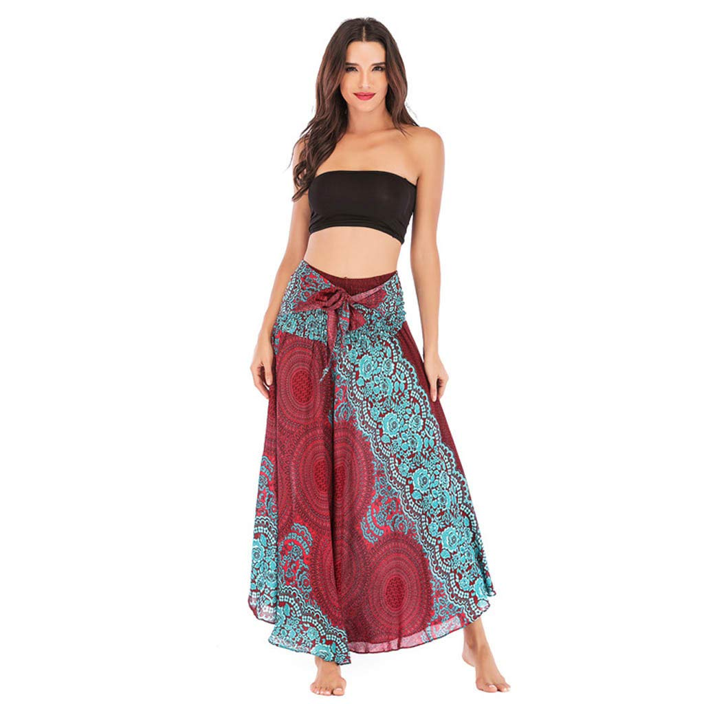 Tantisy /♣↭/♣ Womens High-Waisted Boho Asymmetrical Hem Tie up Long Maxi Print Wrap Skirt Ladies Flowy Chiffon Beach Skirts