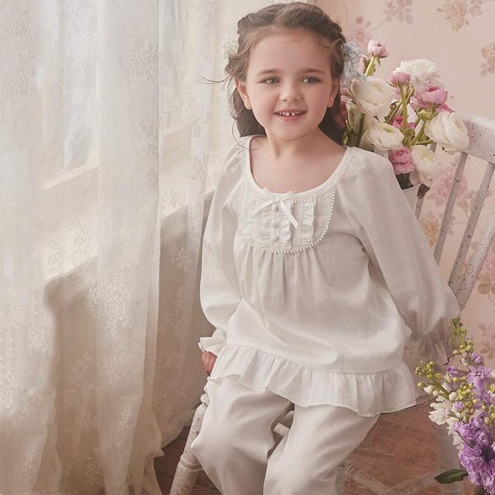 Pijamas Pijamas para Niños Niñas Ropa De Dormir Dos Piezas Algodón Primavera Otoño Blanco Princesa Cuello Redondo Encaje Corte Lindo,140CM: Amazon.es: Hogar