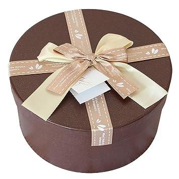 Amazon.com: Caja de regalo de papel redondo de seda marrón ...