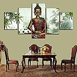 China Bamboo Thai Buddha Statue 5 Pcs Canvas Wall Painting Art Modern Home Decoration Wall Art Picture To Buddha GVS0111BBB