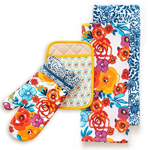 The Pioneer Woman Flea Market Kitchen Towels, Oven Mitt, & Pot Holder 4 Piece Set