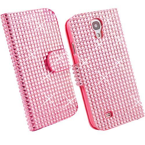 Rosa Brillante Cristal Bling Glitter Funda de Cuero para Samsung Galaxy S4 GT-i9500, Flip Piel Carcasa, Imán de Cierre