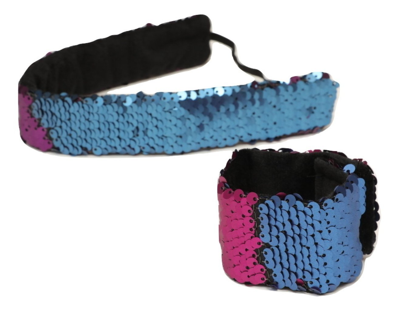 Sparklee Me Mermaid Sequin Headband & Bracelet Color Changing Navy/Purple 2pack