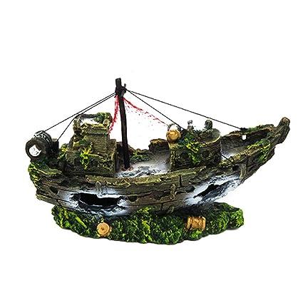 Cutogain Adorno de Resina para Acuario, Diseño de Barco Hueco de Barco, para Decoración de Acuario, C: Amazon.es: Hogar