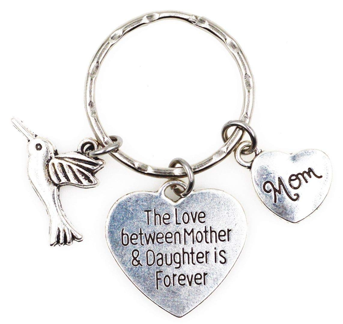Its All About...You The Love Between Mother and Daughter is Forever Hummingbird Daughter Charm Key Ring Lobster Claw Dog Leash Swivel Hook Clasp Interchangeable Detachable Keychain H5U