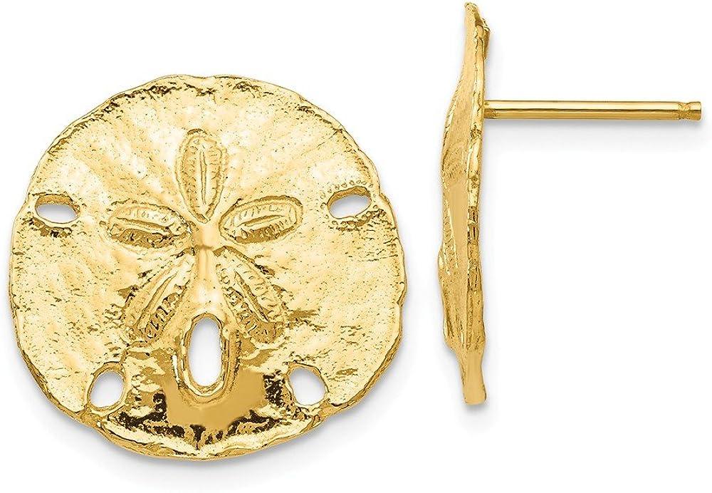14kt Yellow Gold Large Sanddollar Post Earrings