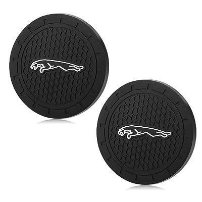 YOJOHUA 2.75 Inch Vehicle Travel Car Interior Accessories for Jaguar, Cup Holder Coaster Auto Interior Decoration Pad(2 PCS): Automotive