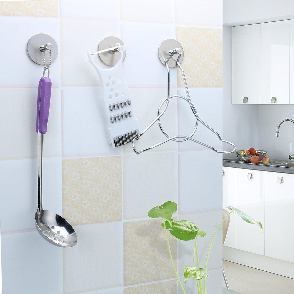 FOTYRIG Self Adhesive Hooks Heavy Duty Wall Stainless Steel Waterproof Robe/Towel Hooks for Bathroom Kitchen Garage-4 Packs by FOTYRIG (Image #5)