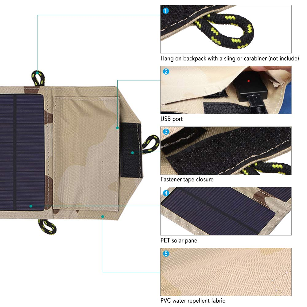 Amazon.com: Lixada1 Cargador solar plegable de 7 W con panel ...
