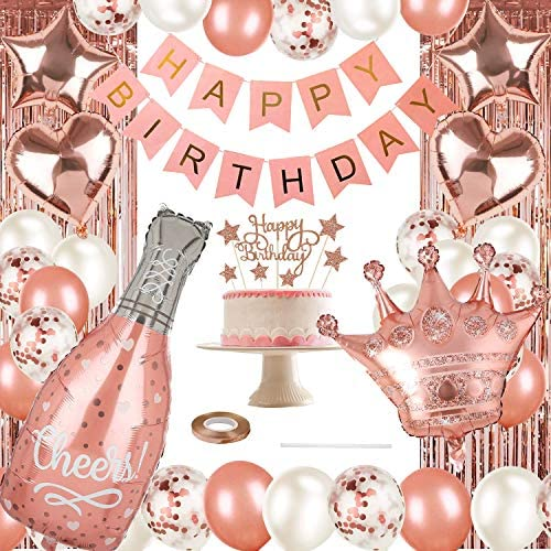 Rose Gold Party Decorations Set,Happy Birthday Confetti Balloons with DIY Cake Topper, Banner, Fringe Curtain,Champagne Foil Balloons,Star Heart Foil Balloons,Crown Balloons for Birthday Supplies