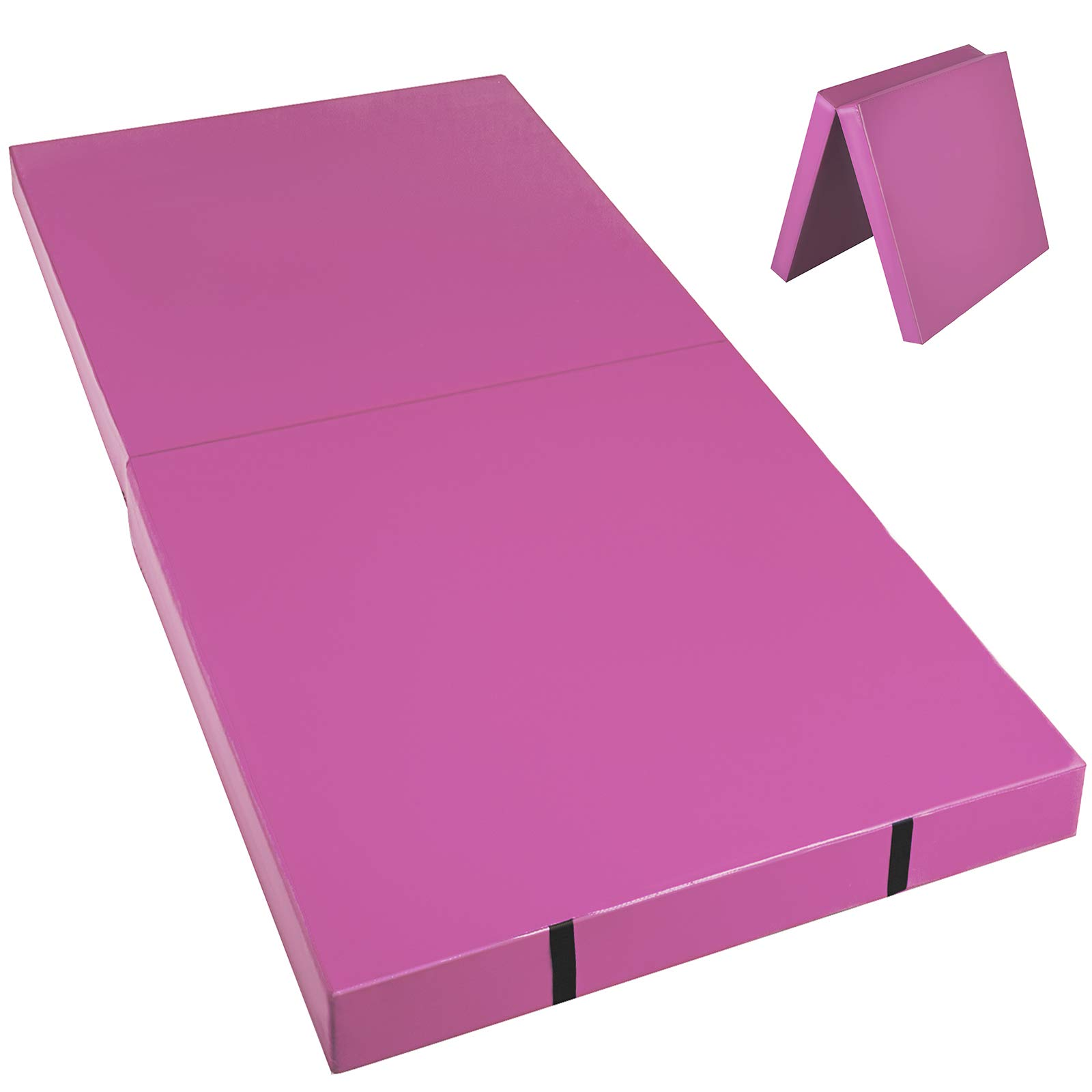Happybuy Junior Practice Mat 6x3x4 inches Pink Folding Gym Mat High Density Folding Mat 4 inch Thick for Gymnastics Stretching Core Workouts