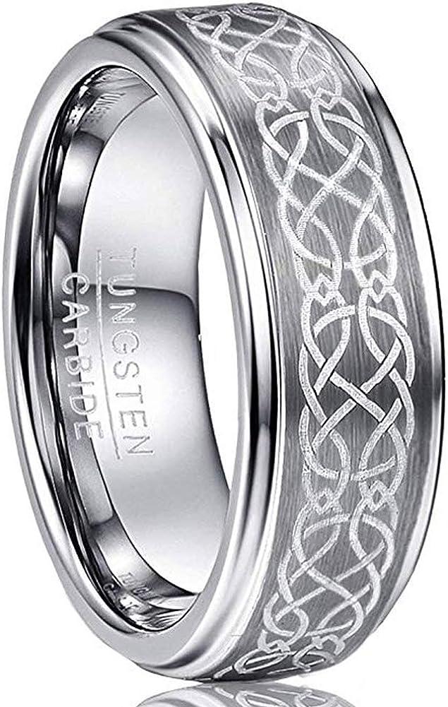 VAKKI Men's 8mm Laser Celtic Knot Brushed Tungsten Carbide Wedding Band Rings Polished Step Edge Size 6-14