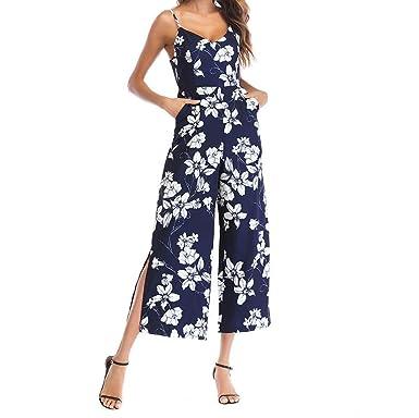 d71b5527bde3d Women Jumpsuits, HEHEM Women Flowers Print Sleeveless Jumpsuit Casual  Clubwear Wide Leg Pants Rompers Playsuit Summer Off Shoulder Sexy Jumpsuit  Casual ...