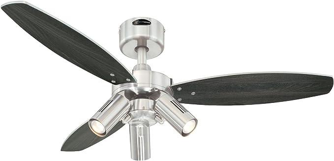 Westinghouse Ceiling Fans Jet Plus Ventilador de Techo E14, 120 W, Acabado en níquel satinado con aspas reversibles en wengué/plata: Amazon.es: Iluminación