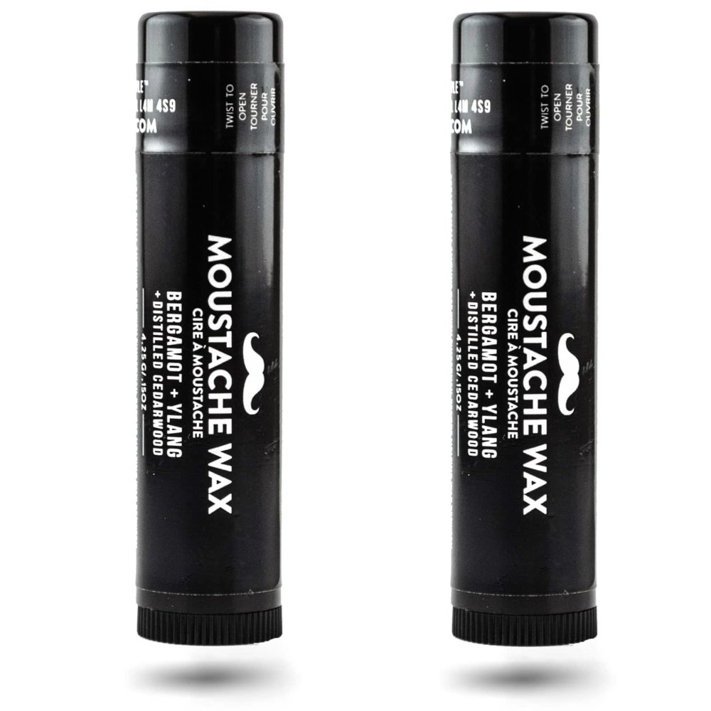 Mustache Wax 2 Pack: Bergamot + Ylang with Distilled Cedarwood. Premium Moustache Wax Blend of Beeswax and Natural Oils, Provides Natural Hold and Styling. Convenient Application Tube Designed for Lif