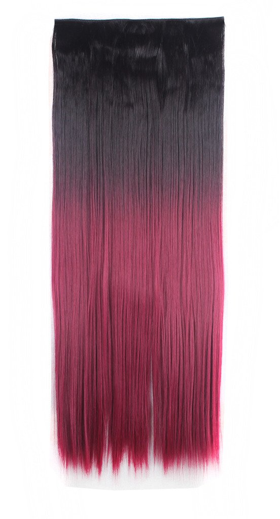 FIRSTLIKE 26'' Inch Straight Black To Wine Red Clip In Hair Extensions Thick 3/4 Full Head Long One Piece 5 clips Soft Women Beauty Hairpiece by FIRSTLIKE (Image #2)
