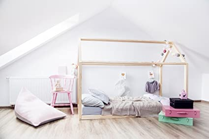 Exceptional Toddler/Twin/Queen Amazing House Bed Montessori Style, Natural, Eco, Wooden