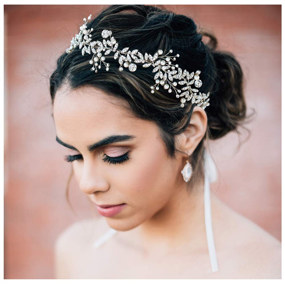 SWEETV Crystal Bridal Headpiece Silver Wedding Headband for Brides Pearl Hair Vine Rhinestone Hair Accessories for Women by SWEETV