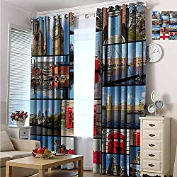 Custom Design Window Curtain Panels for Bedroom & Living Room 84 W x 84 L, England, England City Red Telephone Booth Clock Tower Bridge River British Flag with Flowers, Blue Red