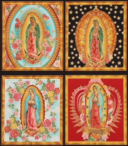 Beautiful Colourful Virgin Mary Fabric Robert Kaufman (per 0.5 Yard Multiples)