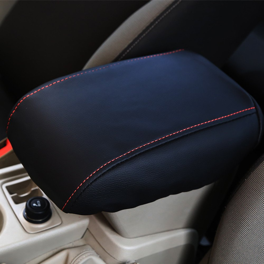 Bwen fsx40032w Car Center Console Cover 1 Pc Black With Black Stitches Armrest Box Cover Saver Fit For 2014 2015 2016 2017 2018 Ford Escape