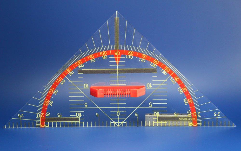 FTM Geometriewinkel Tafelzeichengerät 45°, 60cm mit Griff für Whiteboard, Schulbedarf und Lehrmittel … FTM®
