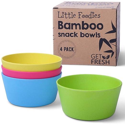 GET FRESH Cuencos de Bambú para Niños - 4 Piezas Cuencos Infantil ...