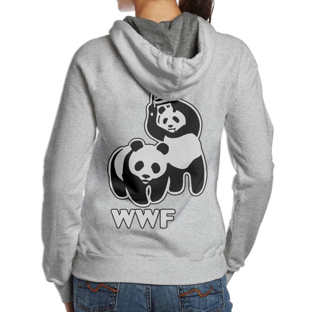 LXMHHoodie WWF Funny Panda Bear Wrestling Womens Hoodies Back Print Pullover Hoodie by LXMHHoodie