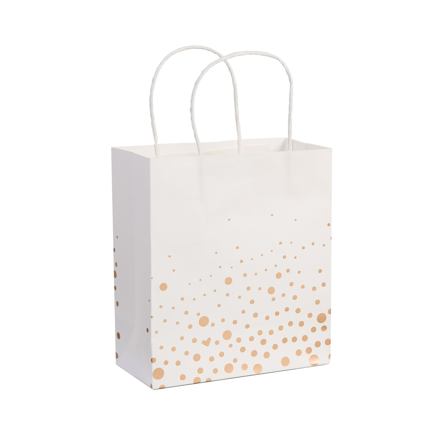 Ling's Moment Set of 12 Rose Gold Polka Dots White Gift Bags for Wedding Hotel Guests Bridal Party Baby Shower Gifts Bags
