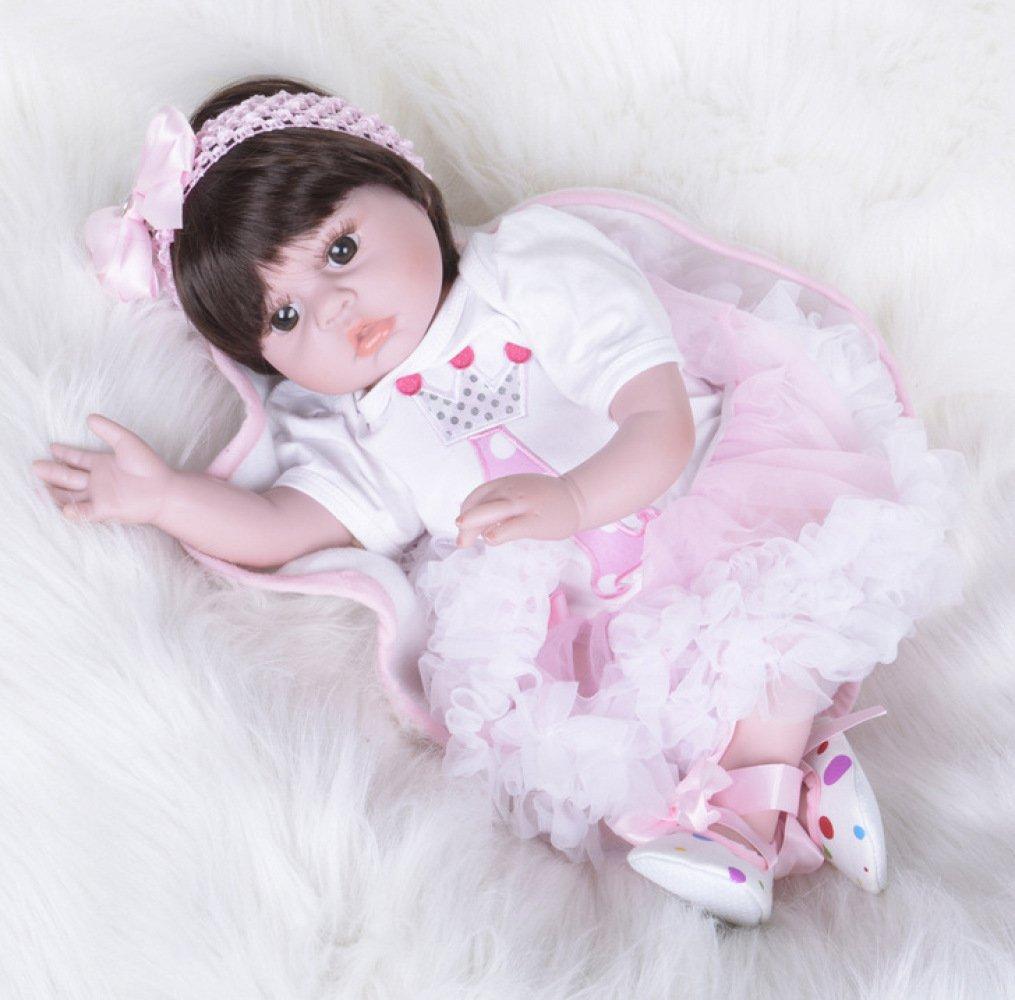 QXMEI Rebirth Puppe Puppe Silikon Simulation Puppe 55 cm Braune Augen Rosa Weißszlig;en Rock 22 Zoll,A A