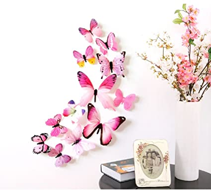 Amazon Com Amaonm 24 Pcs 3d Pvc Colorful Butterfly Wall Decals
