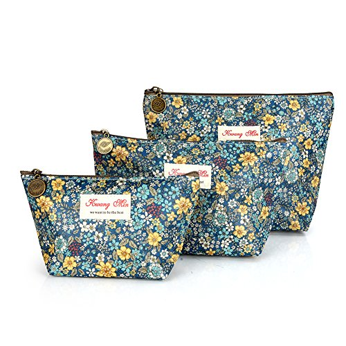 3Pcs Waterproof Travel Toiletry Cosmetic Bags Set for Women Girls Mult-Style Makeup Case Pouch for Travel (Cute Flowers)