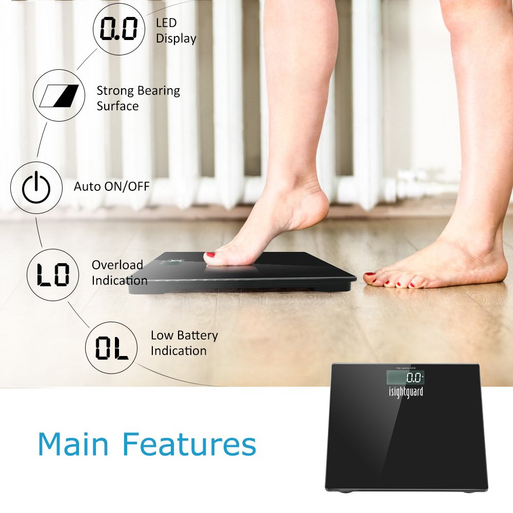 Isightguard Digital Body Weight Bathroom Scale by Balance, High Accuracy, Large Glass Top, Backlit Display, Precision Measurements, 400 Pounds (Battery Included)