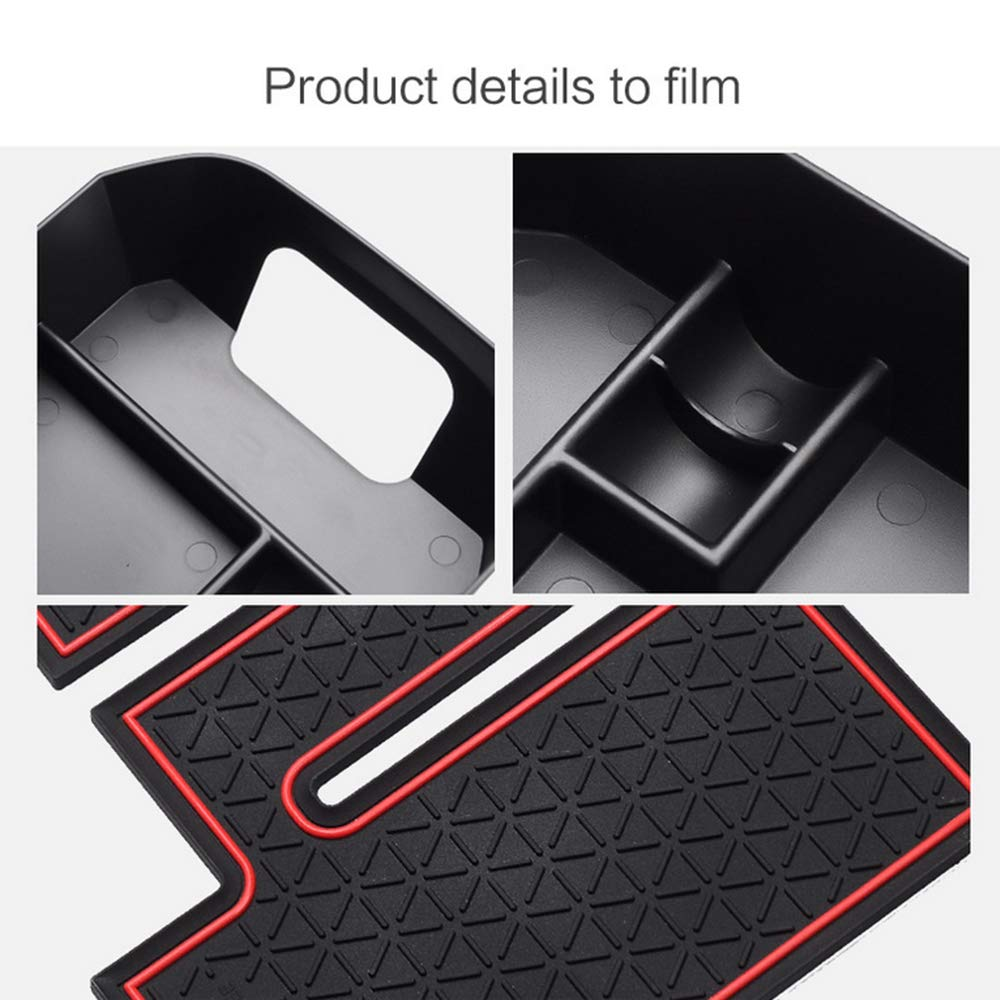 Secondary Storage Liner Accessories Custom Fit Cup Armrest Box for Toyota 4RUNNER Center Console Organizer Insert ABS Black Materials Tray