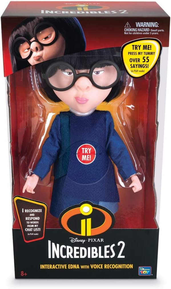 Amazon Com The Incredibles 2 Interactive Edna Action Figure With Voice Recognition Toys Games