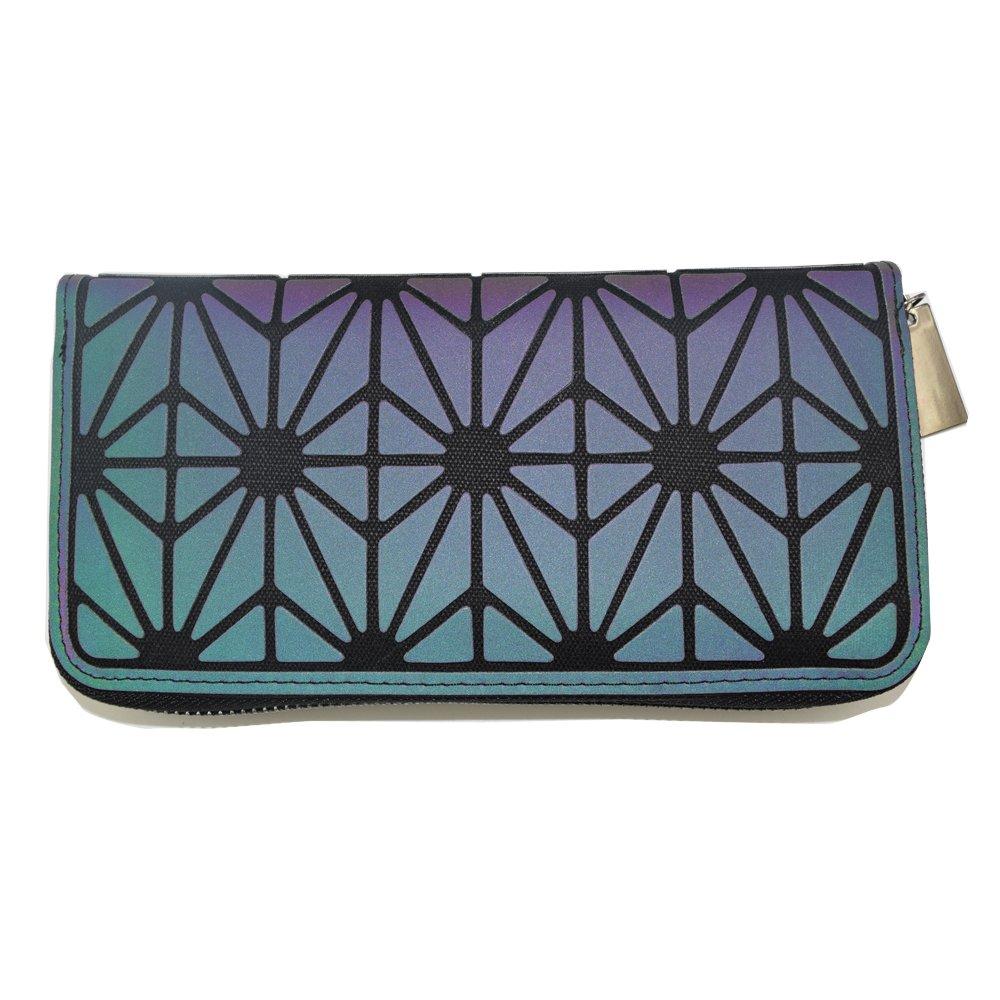 Magibag Women Geometric Rhomboids Lattice Wallet Iridescent Purse Long Coin Purse Clutch Cell Phone Case(Flower)