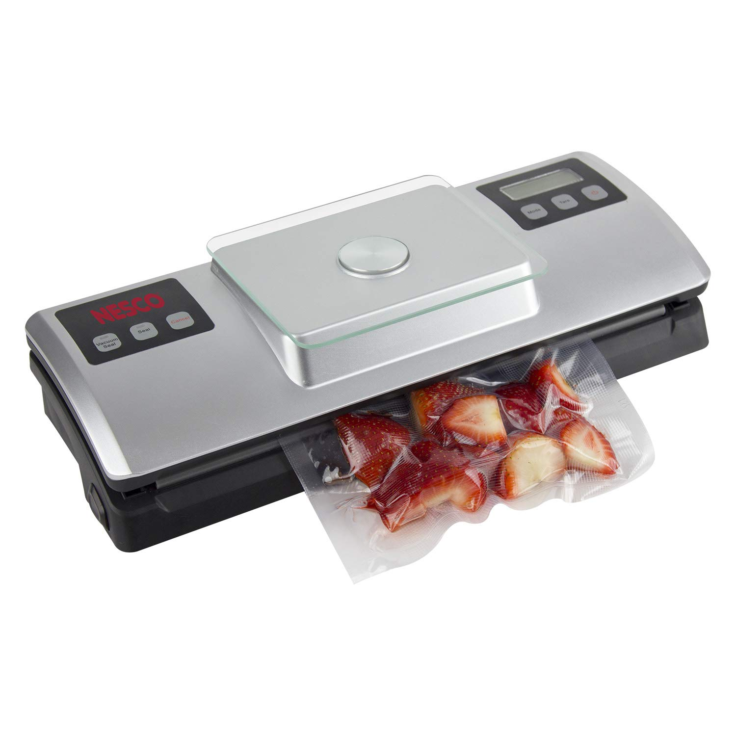 Nesco VSS-01 Automatic Food Vacuum Sealer with Digital Scale and Bag Starter Kit, Silver