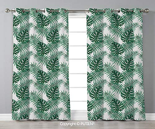Grommet Blackout Window Curtains Drapes [ Leaf,Palm Mango Banana Tree Leaves in Tropical Wild Safari Island Jungle Image Artwork Decorative,Forest Green ] for Living Room Bedroom Dorm Room Classroom K