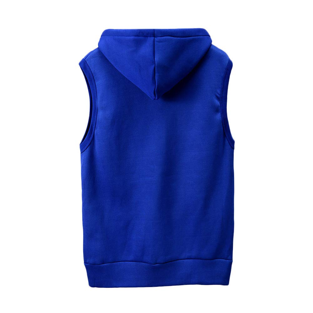 WUAI Clearance Men's Hoodie Jackets Sleeveless Slim Fit Waistcoat Solid Color Athletic Sports Tops(Blue,US Size M = Tag L) by WUAI (Image #1)