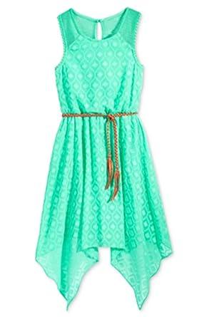 efdbe4fbcb9ab Amazon.com: Sequin Hearts Girls' Belted Textured Handkerchief Dress ...