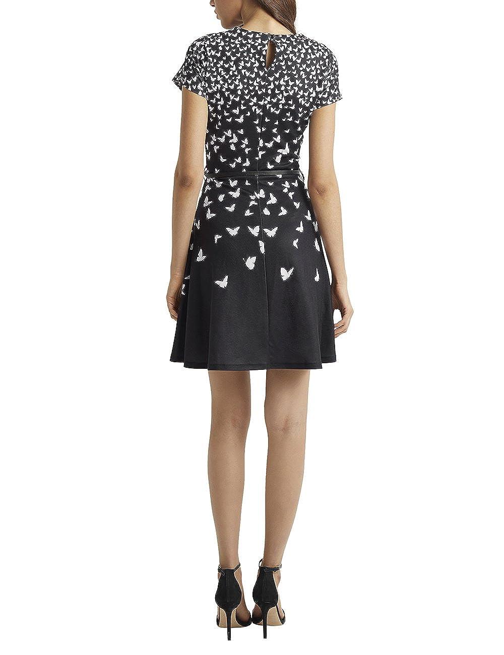 Lipsy Mujer Vestido Evasé Con Estampado De Mariposas Y Cinturón Negro 46: Amazon.es: Ropa y accesorios